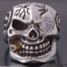925 Silver 3D Skull Cigar Biker White CZ To Ride Chopper Men's Ring sz 7 to 15