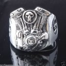925 STERLING SILVER PISTON SKULL V2 ENGINE  BIKER RING US sz 7 to 15