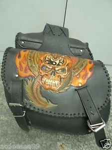 Carved Skull Flame Motorcycle Biker Chopper Leather Saddle Bag