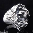 925 STERLING SILVER ENCRUSTED SKULL  JAW BIKER MEN´S RING US sz 12.5