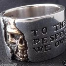 925 STERLING SILVER HALF SKULL BIKER MEN´S RING US sz 15