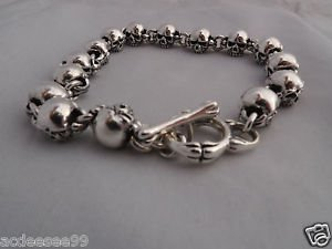 "925 STERLING SILVER FATTY SKULL T-BAR CHOPPER BIKER BRACELET 7"" 7.5"" 8""¨8.5"" 9"""