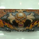 CARVED SKULL FLAME Cross MOTORCYCLE CHOPPER BIKER FORK TOOL KIT BAG