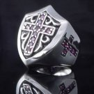 925 SILVER TEMPLAR KNIGHT GOTHIC CROSS TRIBAL SHIELD BIKER RING US sz 10,12