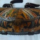 Carved Buffalo Horn Indian Motorcycle Front Bar Leather Bag