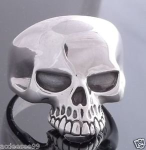 925 STERLING SILVER KEITH RICHARD SKULL BIKER MEN´S RING US sz 11.5