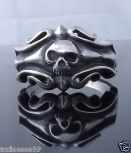 925 STERLING SILVER TRIBAL SKULL CRUSADOR BIKER RING SZ US sz 11.5