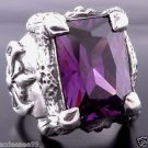 .925 STERLING SILVER BATTLE AXE PURPLE ZIRCONIA GEM BIKER RING sz 6 to 15
