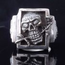 925 STERLING SILVER SKULL ROSE BONE ZIRCON RING CHOPPER RING US sz 6 to 15