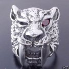 925 STERLING SILVER RED GARNET TIGER  BIKER RING  US sz 8.5