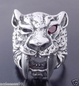 925 STERLING SILVER RED GARNET TIGER  BIKER RING  US sz 10.5