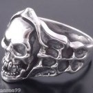 .925 STERLING SILVER SKULL BONE FLAME CHOPPER BIKER RING US sz 10