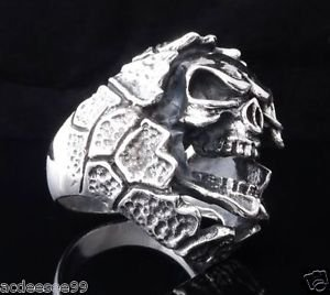 925 STERLING SILVER ENCRUSTED SKULL  JAW BIKER MEN´S RING US sz 8.5