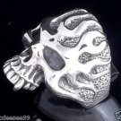 925 STERLING SILVER SKULL FLAMES BIKER RING  US sz 6 to 15