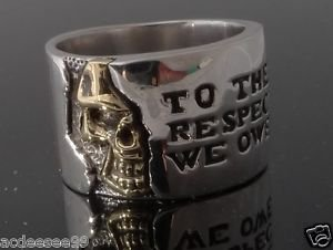 .925 STERLING SILVER HALF SKULL MOTORCYCLE RIDER CHOPPER BIKER RING sz 6 to 15