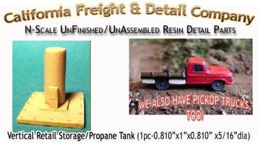 Vertical Retail Storage/Propane Tank (1pc)N/Nn3/1:160-Scale CAL FREIGHT & Detail