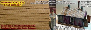 PRECISION SQUARE CITY SHAKE SHINGLES Peel-n-Stik HO/HOn3/HOn30 1:87 *NEW*