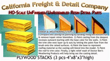 PLYWOOD STACKS (3 pcs) HO/HOn3/HOn30-Scale CAL FREIGHT & DETAILS