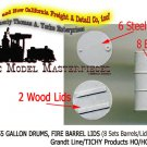 55 GALLON DRUMS w/FIRE BARREL LIDS-(8-Sets) Grandt Line ProductsHO/HOn3/HOn30-1: