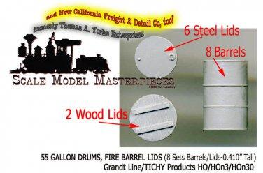 55 GALLON DRUMS w/FIRE BARREL LIDS-(8-Sets) Grandt Line ProductsHO/HOn3/HOn30-1: