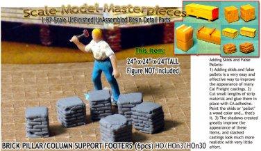 BRICK PILLAR/COLUMN SUPPORT FOOTERS (6pcs) Scale Model Masterpieces HO/HOn3/1;87