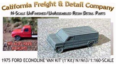 1975 FORD ECONOLINE VAN KIT (1 Kit) CAL FREIGHT & DETAIL  N/Nn3-Scale