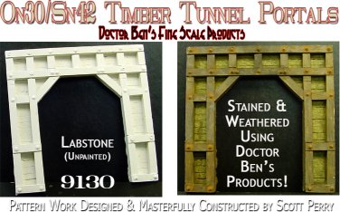 WOODEN TIMBER TUNNEL PORTAL-RUSTIC (LabStone) Scale Model Masterpieces On3/On30