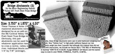 BRIDGE ABUTMENT SET-for ME CENTRAL VALLEY TRUSS BRIDGE Yorke/SMM Kit HOn3/Nn3/HO