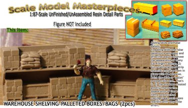 WAREHOUSE SHELVING-PALLETED BOXES/BAGS-OPEN (2pcs) HOn3-Scale Model Masterpieces
