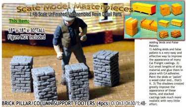 BRICK PILLAR/COLUMN SUPPORT FOOTERS (4pcs) Scale Model Masterpieces/YORKE On30