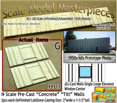 Tilt-Up Walls (G)-Single Large Elevated Window-Center (2pcs) - 20'x40' SMM-N/Nn3