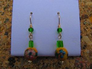 Green & Yellow Flower Earrings