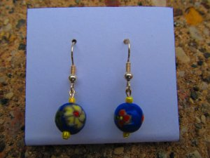 Yellow & Red Flower Earrings
