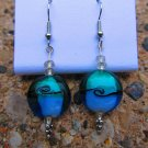 Blue Swirl Glass Earrings