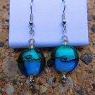 Blue Swirl Glass Earrings