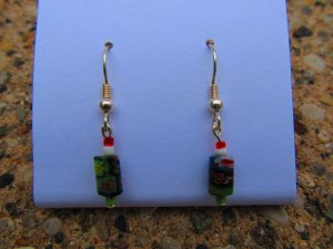 Red & Green Flower Earrings