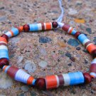 Blue & Orange Paper Bead Bracelet