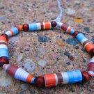 Blue & Orange Paper Bead Bracelet