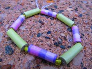 Purple & Green Paper Bead Bracelet