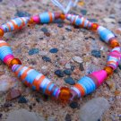 Orange & Brown Paper Bead Bracelet