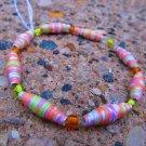 Orange & Green Paper Bead Bracelet