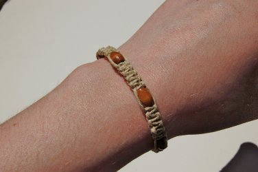 Natural Wood Hemp Macrame Bracelet 184-185