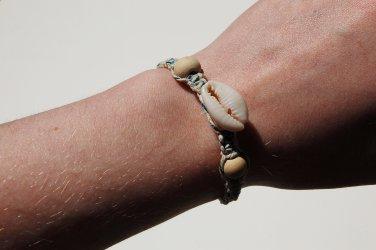 Cowrie Shell Blue Macrame Bracelet 157-158