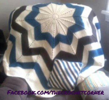 Round Ripple Afghan & Pillow