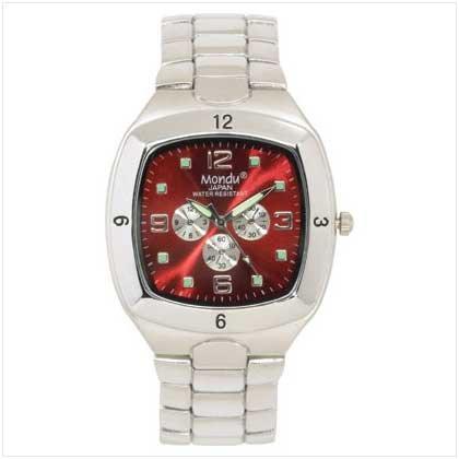 Men's Orange Dial Silver Watch