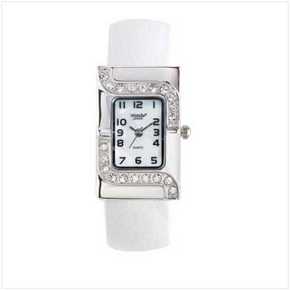 Silver Case White Cuff Watch
