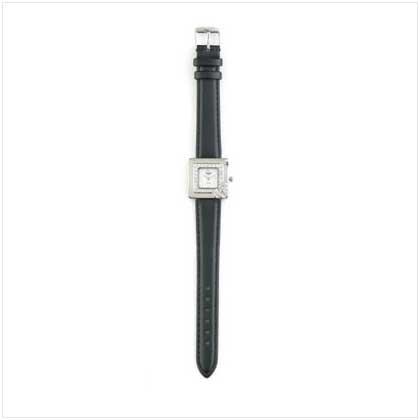 Silver Case Black Band Watch