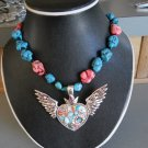 Heart W/Wings Pendant Necklace made w/ Red & Turquoise Beads (AN#16)
