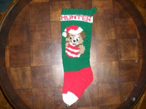 Handcrafted/Hand Made Heritage Knit Christmas Stocking - Puppy with Ball (Item#04)