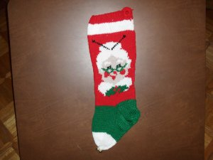 Handcrafted/Hand Made Heritage Knit Christmas Stocking - Mrs. Claus (Item#02)